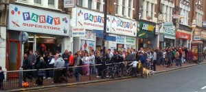 Queue outside Party Superstore, Clapham Junction