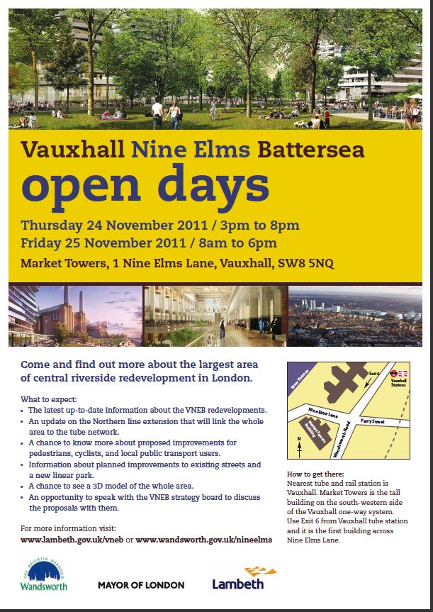 Vauxhall Nine Elms Battersea Open Days 24th and 25th November, Market Towers