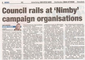 In the Wandsworth Guardian: Council accuses community groups of being 'NIMBYs' after they write to David Cameron to complain