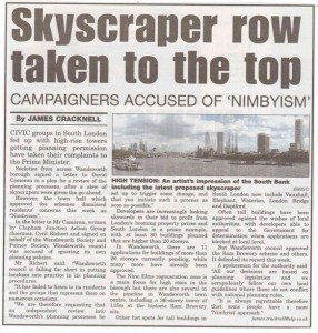 In South London Press: Skyscraper row taken to the top